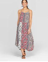 Women's Strappy V-Neck Pullover Shift Dress - Knox Rose-MuliColor- Size:L- NWT