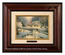 Thomas Kinkade Deer Creek Cottage Framed Brushwork (Burl Frame)
