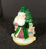 "Vintage RSVP Porcelain Green Santa Claus 1910 Christmas 4"" Tall Made in Taiwan"