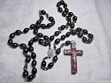 30-70er Jahre heiliger Rosenkranz ovale Holzperlen braun Kruzifix Holz Metall