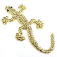 1X(Auto Strasssteinen, glitzernd, goldfarben, Metall, Gecko Aufkleber-Desig C6M3