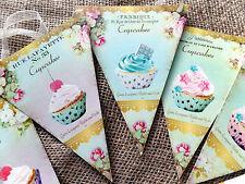 3m French Parisian Style Cupcake Bunting/Banner with Cream Organza Ribbon
