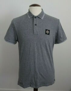 Mens Stone Island Grey Slim Fit Polo Shirt Top Casuals - Size Large