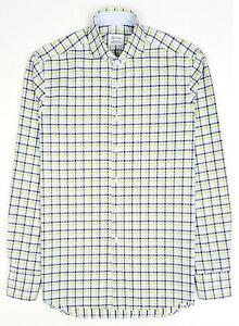 STENSTROMS Fitted Body Slim Twofold Shirt Cutaway Check Plaid Green Eu39 15.5