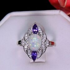 Oval Shape Fire Opal & Purple CZ Ring