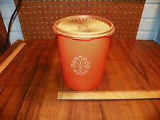 Vintage TUPPERWARE SERVALIER Orange Canister w Lid #809-13                     #