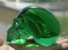 "2.75"" Nice Green Quartz Crystal Skull Healing Skeleton Detailed Carved #5839"