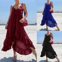 Womens Sleeveless Ruffle V Neck Dress Party Cocktail Summer Long Maxi Dress Plus