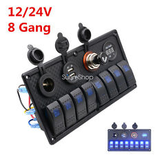 12/24V 8 Gang Switch Panel Breaker Voltmeter USB LED For Car Marine Boat Circuit