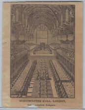 1830s Woodcut - Westminster Hall, London, Set Up for the Coronation Banquet