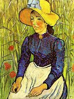 VINCENT VAN GOGH YOUNG PEASANT GIRL WHEATFIELD 1890 ART PAINTING PRINT 3029OMA
