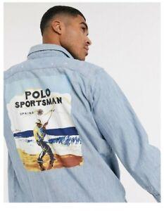 Polo Ralph Lauren Chambray Sportsman fishing shirt sportsmen sport hi tech cp93