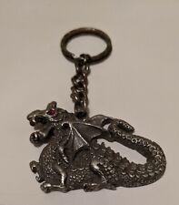 Dragon Keychain - Fafnir Heraldic Dragon - Pewter
