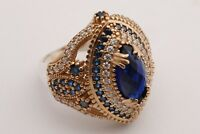 Turkish Jewelry Marquise Cut Sapphire Topaz 925 Sterling Silver Ring Size All