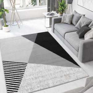 Modern Grey Geometric Rug Small Large Living Room Rugs Retro Hallway Runner Mat