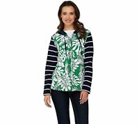 Susan Graver Weekend Printed French Terry Zip Front Hooded Jacket (Green, 2XS)