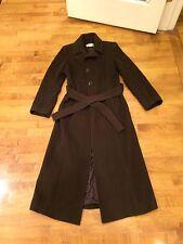 Ladies Long Chocolate Brown Belted 100% Wool Winter Coat, Michael Kors, Size 6US