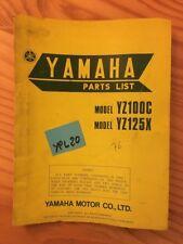 Yamaha YZ100C YZ125X 1976 YZ 100 125 Catalogue Spare Parts List Motorbike