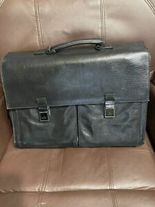 Gucci Leather Briefcase 3 Zippered Pockets Rare