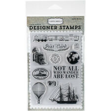 Carta Bella Post Card Clear Stamps, Scrapbooking, craft Stamping, travel, mail