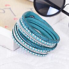 Teal and Silver Studded Vegan Leather Wrap Bracelet