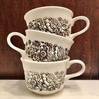 Large Floral Vintage Coffee Mug Soup Bowl Ceramic Set Of 3