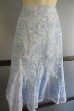 Jones New York Skirt Blues Cotton Sz 12 Paisley A Line Lightweight Beachy