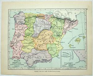 Vintage Map of Spain, Portugal & the Battle of Trafalgar by Longmans Green 1907