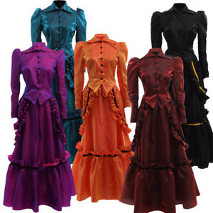 Gothic Victorian Dress Steampunk Saloon Costume Vampire Ball Gown Industrial Age