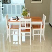 White and Brown Solid Wood Pine Dining Table Set and 4 Chairs Set Kitchen Room N