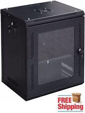 12U Data Tower Rack Mount Network Server Case Cabinet Locking Fan Wall Glass
