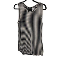 Cabi Tank Top Womens Medium Black Striped Sleeveless Round Neck Shirt