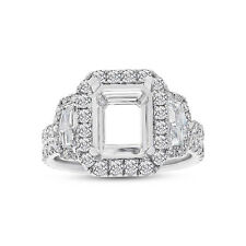 10x8mm Semi Mount Diamond 18K White Gold Ring, Shield Cut Three Stone Mount Ring