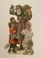 "Rare Antique 6"" Raphael Tuck Green Coat Santa Claus Victorian Christmas Die Cut"