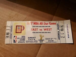 1977 NBA ALL-STAR GAME FULL TICKET STUB   MILWAUKEE, WI.         JABBAR