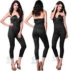 Sexy Black Jumpsuit Pants Size 8 10 12 14 16 Strapless V Neck Playsuit Bodysuit