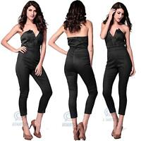 Formal Office Party Wear Black Jumpsuit Strapless V Neckline Bodycon Bodysuit