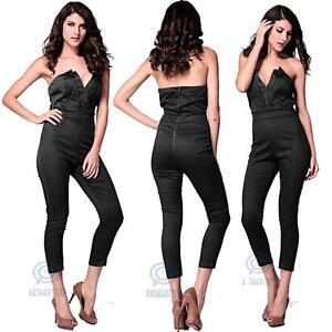 Sexy Black Jumpsuit Pants Size 8 10 12 14 16 Strapless V Neck Playsuit Bodysuit