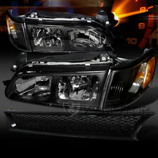 1993-1997 Toyota Corolla Crystal Black Headlights+Corner Signal Lamps+Hood Grill