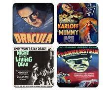 Vintage Horror Film Coaster Set Of 4 Neoprene Dracula Frankenstein Dead Mummy