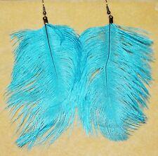 Big Blue Gypsy Tribal Feather Hippie Belly Dancing Boho Festival Gothic Earrings
