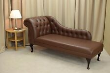 """70"""" Buttoned Brown Chaise Longue - Genuine Leather - NEW"""