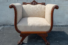 Walnut Empire Bedroom Chair Antique 19th Century Newly Upholstered & Restored