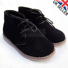 BOYS KIDS DESERT BOOTS LACE UP FAUX LEATHER SUEDE BOOT BLACK BEIGE HONEY NEW UK