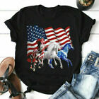 4th Of July Independence Day Gift, Patriotic US Flag Horse Black Cotton T-Shirt
