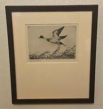 Original FRANK BENSON Pencil Signed Sporting Art Etching - Flying Pintail, 1927
