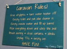 Caravan Rules To Do List RV Sign -  Rustic Camping Camper Wooden Sign