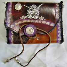 Nouveau Carved Silver Hibiscus Browns and Purple Leather Steampunk Purse/Pouch