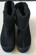 Easy Spirit Women's Black Suede Leather Faux  Fur Ankle  Explore24 Boot Size 8.5
