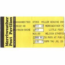Little Feat & Melissa Etheridge Concert Ticket Stub 7/20/89 Columbia Md Rare